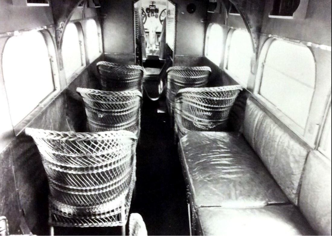 Interior of 1922 Ford Tri-Motor airliner with wicker chairs | Drink up the history with The Barwalk, San Antonio TX